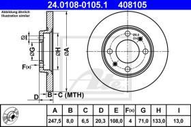ATE 408105 - DISCO DE FRENO PEUGEOT 205 (83-90)
