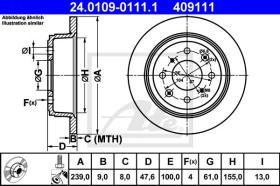 ATE 409111 - DISCO DE FRENO HONDA CIVIC (3/4-T?R