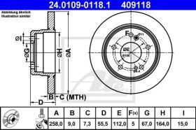 ATE 409118 - DISCO DE FRENO MERCEDES BENZ (W201)