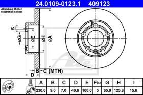 ATE 409123 - DISCO DE FRENO TRAS.AUDI/SEAT/VW.