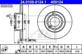 ATE 409124 - DISCO DE FRENO SEAT AROSA (6H) (97-