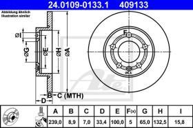 ATE 409133 - DISCO DE FRENO AUDI A3 (96-03)