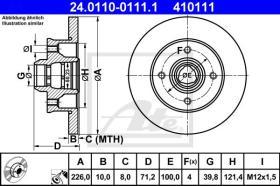 ATE 410111 - DISCO DE FRENO SEAT CORDOBA I (93-9