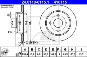 ATE 410115 - DISCO DE FRENO FORD FIESTA V (02-08