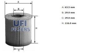 Filtros ufi 2500200 - FILTRO ACEITE UFI **