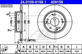 ATE 409158 - DISCO FRENO HONDA CIVIC HATCHBACK (