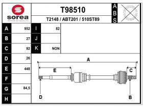 Transmisiones ABT201 - TRANSMISION DCHA.JAGUAR X-TYPE